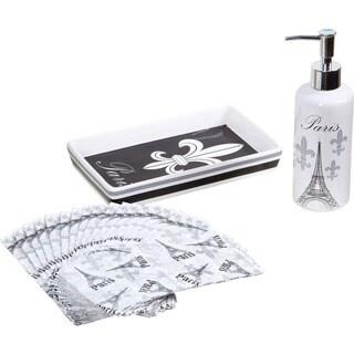 20-piece Black and White Paris Guest Napkin Set