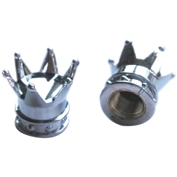 Silver Crown Bicycle Valve Covers