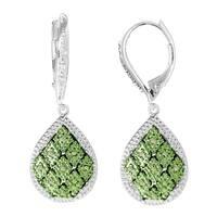 Sterling Silver 1/5ct TDW Green Diamond Teardrop Earrings