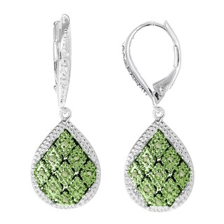Sterling Silver 1/5ct TDW Green Diamond Teardrop Earrings