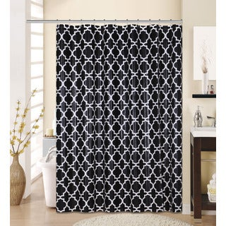13-piece Lattice Printed Peva Shower Curtain with Roller Hooks