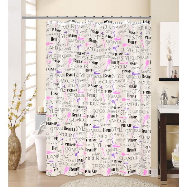 13-piece Feminine Printed Peva Shower Curtain with Roller Hooks
