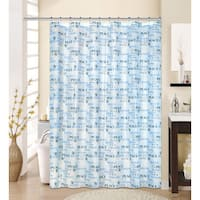 13-piece Hope Printed Peva Shower Curtain with Roller Hooks