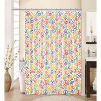 13-piece Peace Printed Peva Shower Curtain with Roller Hooks