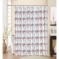 13-piece Paris Printed Peva Shower Curtain with Roller Hooks
