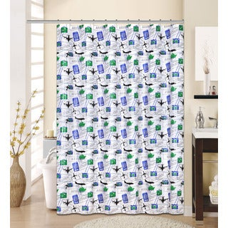 13-piece Flyer Printed Peva Shower Curtain with Roller Hooks