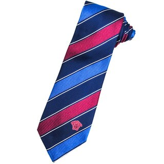 Versace 100-percent Italian Silk Magenta/ Blue Stripe Neck Tie