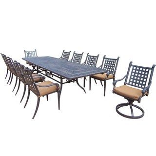 Plymouth 11-piece Dining Set, with Extendable Table, and Sunbrella Cushioned Chairs, and Swivel Rockers