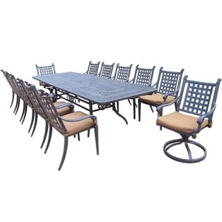 Plymouth 13-piece Dining Set, with Extendable Table, Sunbrella Cushioned Chairs, and Swivel Rockers