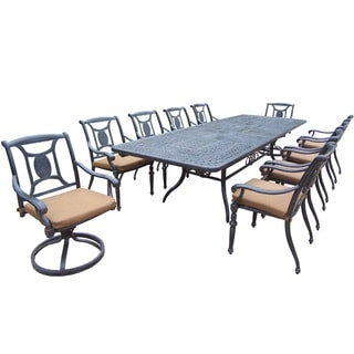 Willoughby 11-piece Dining Set, with Extendable Table, Sunbrella Cushioned Swivel Rockers and Chairs