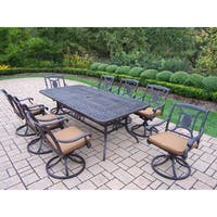9 Pc Dining Set with Extendable Table, and 8 Sunbrella Swivel Rockers