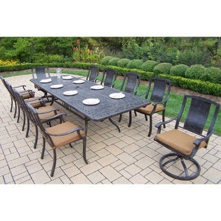 Ravenna Cast Aluminum 11-piece Dining Set, with Extendable Table, Sunbrella Cushioned Swivel Rockers, and Chairs