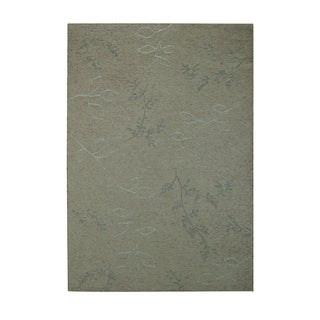 Walkover-leaf Rectangle Grey Machine Woven Rug (2'7 x 4'11)