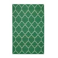 Genevieve Gorder Serpentine Rectangle Dark Green Flat Woven Rug (3'x 5') - 3' x 5'