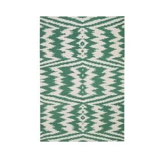 Genevieve Gorder Junction Rectangle Dark Green Flat Woven Rug - 3' x 5'