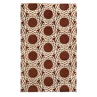 Cococozy Princeton Rectangle Copper Cream Hand-knotted Rug (5'x 8') - 5' x 8'