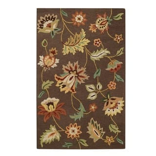Garden Flowers Rectangle Chocolate Hand Tufted Rug 5