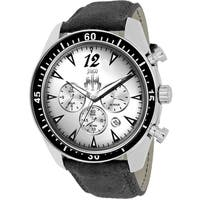 Jivago Men's  Timeless Round Black Leather Strap Watch