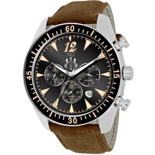 Jivago Men's JV4513 Timeless Round Brown Leather Strap Watch