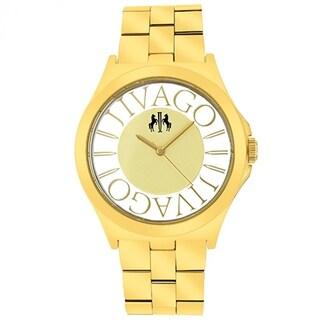 Jivago Women's JV8414 Fun Round Goldtone Stainless Steel Bracelet Watch