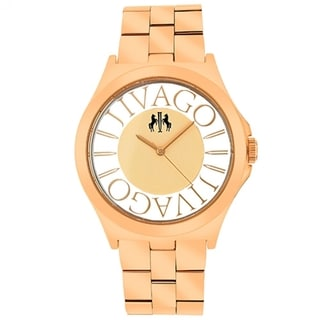 Jivago Women's JV8411 Fun Round Rose Gold-tone Stainless Steel Bracelet Watch