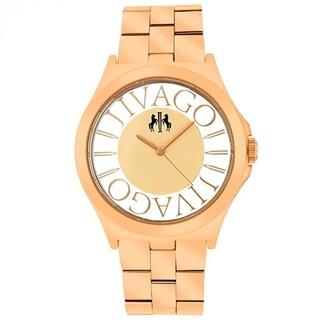 Jivago Women's JV8411 Fun Round Rose Gold-tone Stainless Steel Bracelet Watch