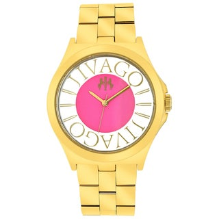Jivago Women's JV8413 Fun Round Goldtone Stainless Steel Bracelet Watch