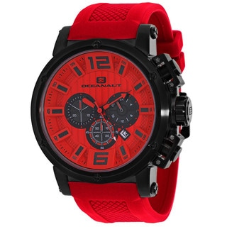 Oceanaut Men's OC2142 Spider Round Red Silicone Strap Watch