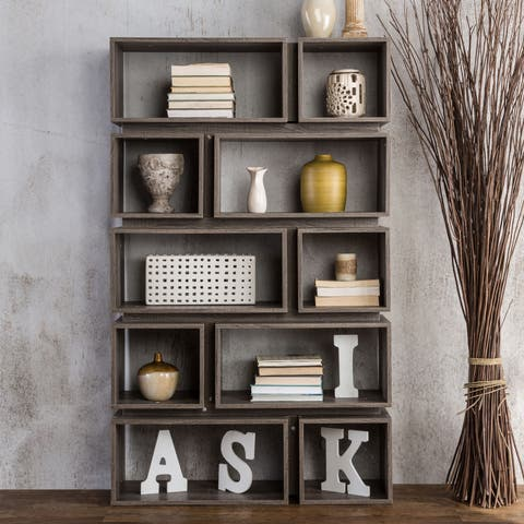 Cassidy Tiered Distressed Grey 10-Shelf Open Bookcase by FOA