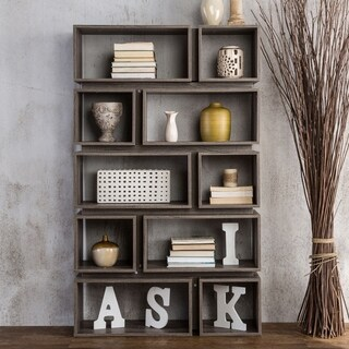 Furniture of America Cassidy Tiered Distressed Grey 10-Shelf Open Bookcase
