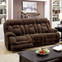 Furniture of America Leytonne Brown Flannel Power-Assist Reclining Sofa