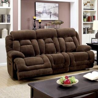 Furniture of America Leytonne Brown Flannelette Power-Assist Reclining Sofa