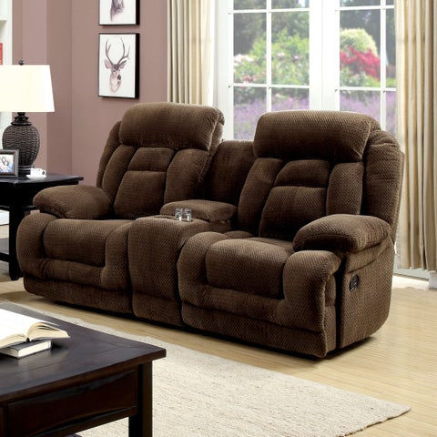 Furniture of America Leytonne Brown Flannelette Reclining Loveseat