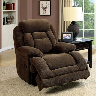 Furniture of America Leytonne Transitional Brown Fabric Glider Recliner