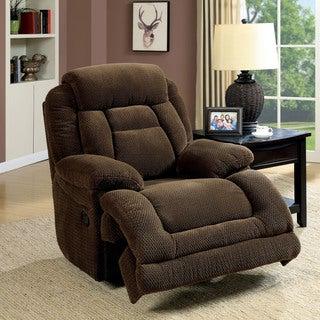 Furniture of America Leytonne Brown Flannelette Glider Recliner