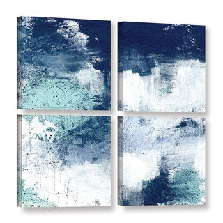 ArtWall Sarah Ogren's Navy II, 4 Piece Gallery Wrapped Canvas Square Set