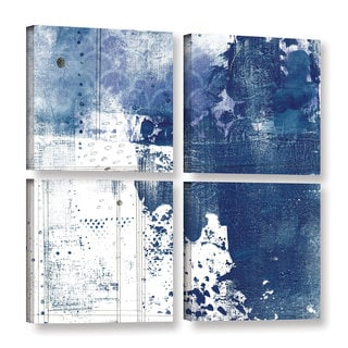 ArtWall Sarah Ogren's Navy I, 4 Piece Gallery Wrapped Canvas Square Set