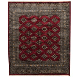 Herat Oriental Pakistani Hand-knotted Prince Bokhara Dark Red/ Gold Wool Rug (6'6 x 7'8)