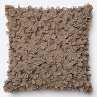 Hand-sewn Petals Grey/ Taupe Throw Pillow or Pillow Cover 18 x 18