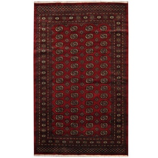 Herat Oriental Pakistani Hand-knotted Prince Bokhara Red/ Gold Wool Rug (5'9 x 8'2)