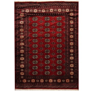 Herat Oriental Pakistani Hand-knotted Prince Bokhara Dark Red/ Gold Wool Rug (5'8 x 7'10)