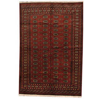 Herat Oriental Pakistani Hand-knotted Prince Bokhara Rust/ Gold Wool Rug (6' x 9')