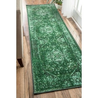 nuLOOM Traditional Vintage Inspired Overdyed Fancy Green Runner Rug (2'6 x 8'6)