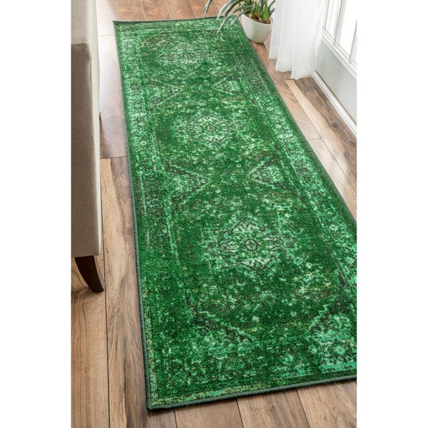 Nuloom Traditional Vintage Inspired Overdyed Fancy Green