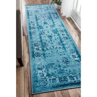 nuLOOM Traditional Vintage Inspired Overdyed Floral Turquoise Runner Rug - 2'6 x 8'