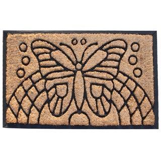 First Impression Auden Butterfly Rubber and Coir Doormat