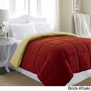 All Season Reversible Down Alternative Microfiber Comforter (Option: Brick/Khaki - Queen)