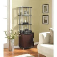 "Ameriwood Home Carson Cherry/ Black Audio Stand - 55.8""h x 17.25""w x 13.6""d"