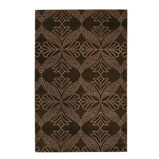 Picturesque-grace Rectangle Cocoa Hand-knotted Rug (7'x 9')