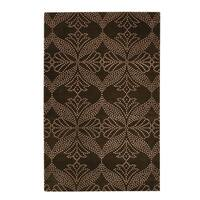 Picturesque-grace Rectangle Cocoa Hand-knotted Rug - 7' x 9'